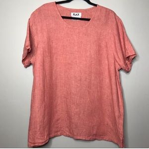 Flax 100% Linen Short Sleeve Living Coral Top